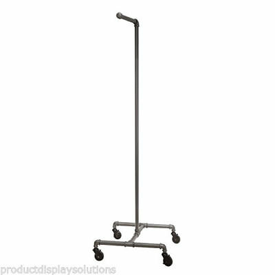 Pipe Single Arm Rolling Clothing Garment Display Rack Grey