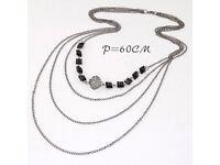 Fashion Gold Color Square Shape Decorated Multilayer Design Alloy Bib Necklaces