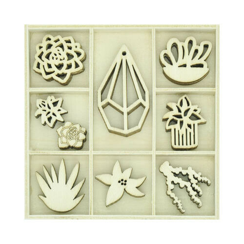 Kaisercraft Wooden Flourish packs / storage box 74 selections - Succulents