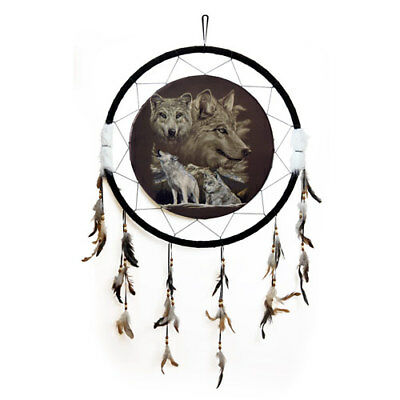 "Giant 26"" Back to Earth Collection Wolf Wolves Scene Dream Catcher Feathers 2628"