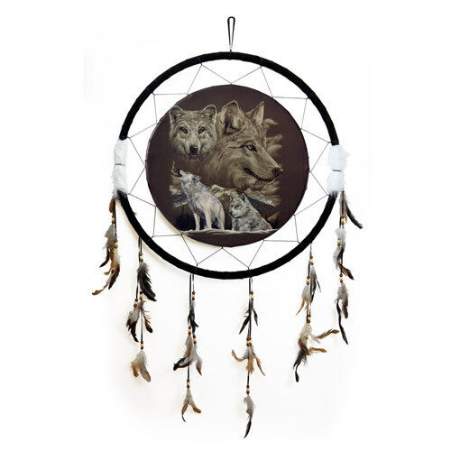"""Giant 26"""" Back to Earth Collection Wolf Wolves Scene Dream Catcher Feathers 2628"""