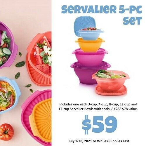 New Tupperware 5 pc Large Servalier Bowl Set Container $14.50 Shipping