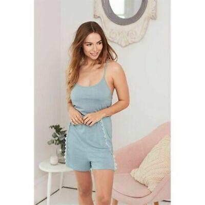 AVON Ladies Womens Lace Trim Playsuit Nightwear PJs Pyjama, Blue, UK 6 8 10 12