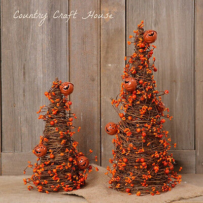 Primitive Country Halloween Fall 2 Grapevine Orange Berry Garland Tree Twig Cone