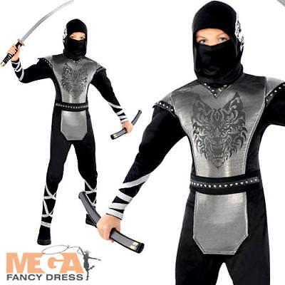 Wolf Ninja Boys Fancy Dress Martial Arts Japanese Kids Childs Halloween Costume