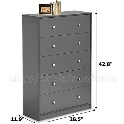 كومودينو جديد Bedroom Storage Dresser Chest 5 Drawer Modern Wood Furniture Gray