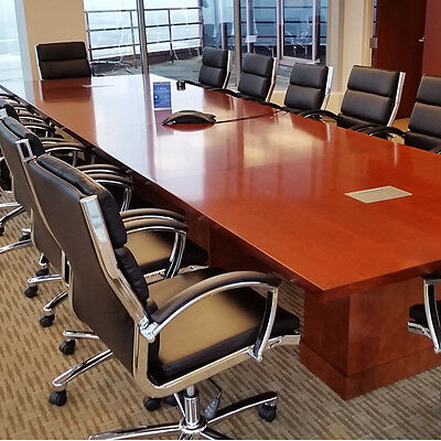 Modern Conference Room Table With Square Bases Boardroom Meeting Cherry Mahogany