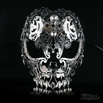 Full Face Skull Mask - Day of the Dead Masquerade Mask for Women M7153 [Silver] - Day Of The Dead Faces For Halloween