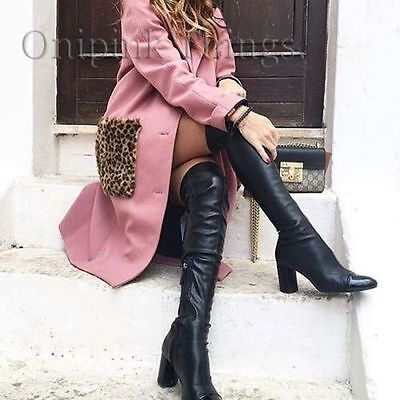 ZARA Black Over The Knee High Heel XL Cap Toe Boots 6008/101 US 7.5 EU 38