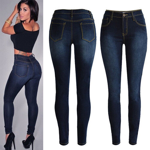 Womans High Waist Pencil Solid Jeans Stretch Skinny Pants Sl