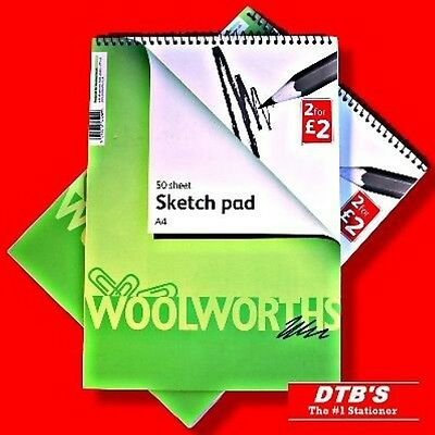 2X A4 ARTIST SKETCH PAD/BOOK PLAIN WHITE PAPER SPIRAL TOP ART/DRAWING/SKETCHING