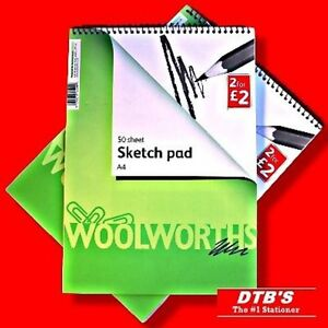 2X-A4-ARTIST-SKETCH-PAD-BOOK-PLAIN-WHITE-PAPER-SPIRAL-TOP-ART-DRAWING-SKETCHING