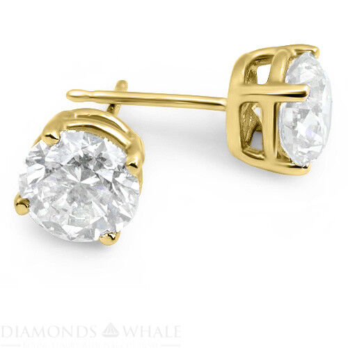 2.02 Ct Round Cut, Vs2/d Enhanced Diamond Stud Bridal Earrings 18k Yellow Gold
