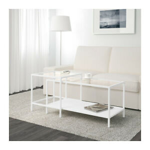 Nesting Coffee Table 2 Pieces White Modern Like New
