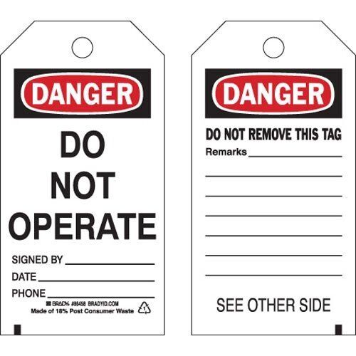 """BRADY Polyester Danger Tag, 5-3/4"""" H x 3"""" W, Pack of 10, Product #86458"""