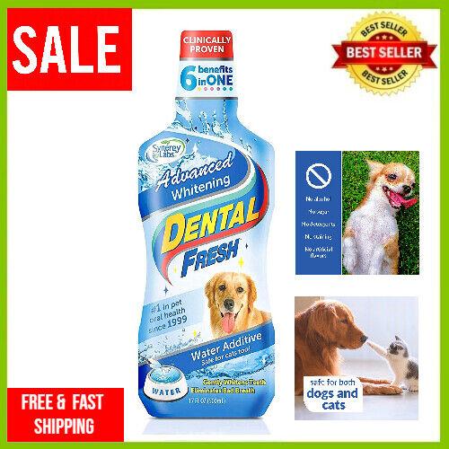 Dog Dental Water Additive Cat Oral Care Fresh Breath Advanced Whitening 17 oz