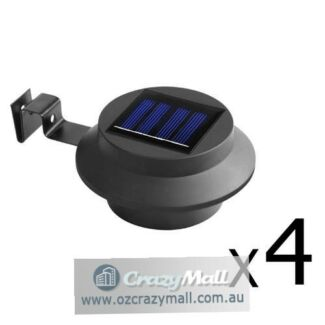 4x/8x LED Solar Powered Fence Light Black/White