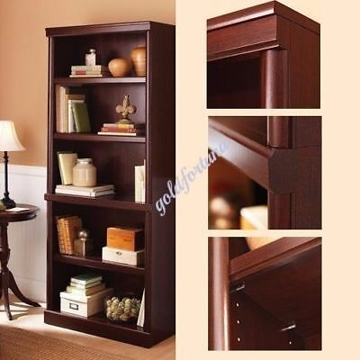 Open Bookshelf 5-Shelf Storage Shelving Book Wood Adjustable Bookcase Furniture