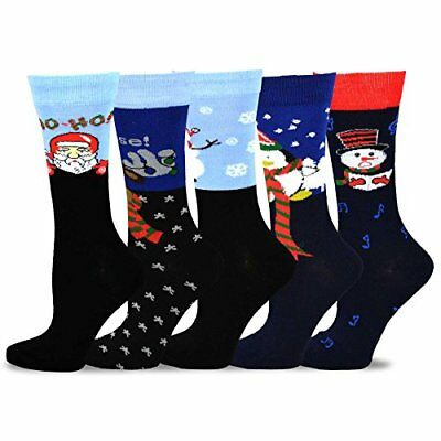 TeeHee Christmas & Holiday Fun Crew Socks for Women 5-Pack Striped Soft Warm (Christmas Fun For Adults)