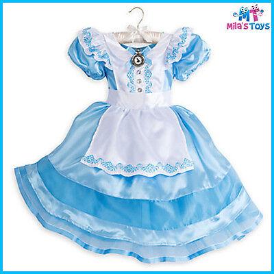 Disney Alice in Wonderland Classic Costume w/ Headband for Kids size 5-12 bnwt](Alice In Wonderland Costume For Children)