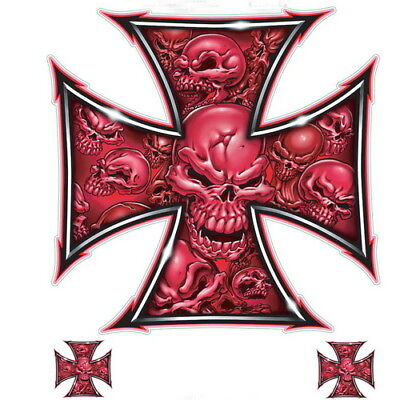 Lethal Threat Red Iron Cross Skull Decal 6x8 Sheet (Red Skull Iron Cross)
