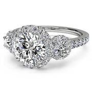 Halo 3 Stone Diamond Ring