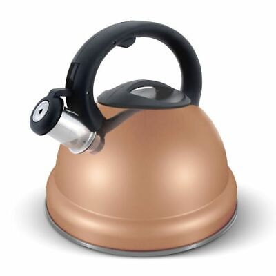 Elitra Stainless Steel Whistling Kettle Teapot Stay Cool Handle 3 Qt - Rose Gold