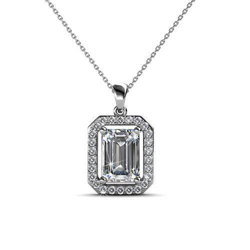18k white gold genuine SWAROVSKI crystal Regal Pendant necklace