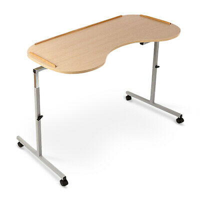 Adjustable Overbed Table - Easy Clean Wood Effect Laminate Raised Trim Surface