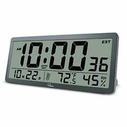 Digital wall clock, 14 in with temperature, humidity and date, time