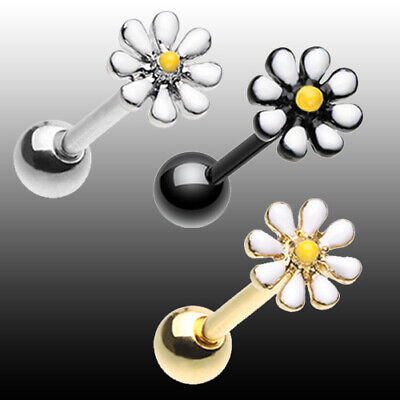 Silver White Barbell (Golden Daisy Flower Barbell Tongue Ring Silver White Yellow Body Jewelry Sexy )