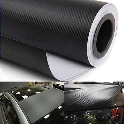 "120"" x 60"" 3D Carbon Fiber Vinyl Wrap Sticker Air Release Bubble Free 5FT x10FT"