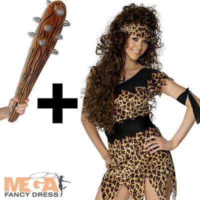 Cavewoman Ladies Fancy Dress Stone Age Adults Costume + Caveman Inflatable - Cavewoman Fancy Dress Kostüm