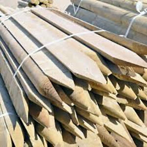 1.8M (6ft) X 100mm (4 inch) Wooden Treated Half Round Pointed Fence Posts wood