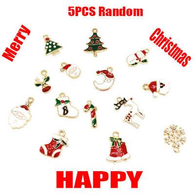 XMS Enamel Charm Christmas Tree/Snowman/Santa Claus/Moon Beads Pendant 5pcs hi