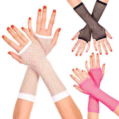 Goth Punk Rock Rave Fishnet Diamond Net Fingerless Gloves Costume Arm Warmers ()