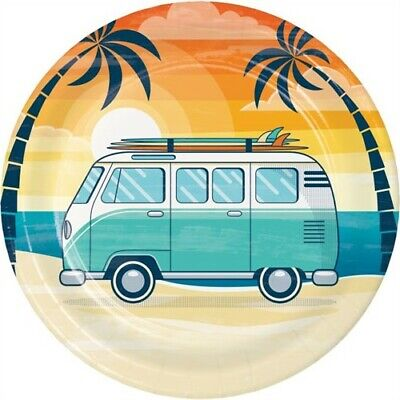 Summer Surfing 9 Inch Paper Plates Surf Beach Surfboard Party Decorations - Beach Paper Plates