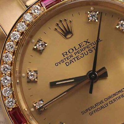 Rolex Presidential 31mm Champagne Diamond Accent Dial with Ruby Bezel 18k Gold