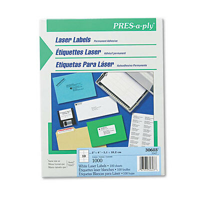 Avery Pres-a-ply Laser Address Labels 2 X 4 White 1000box Bx - Ave30603