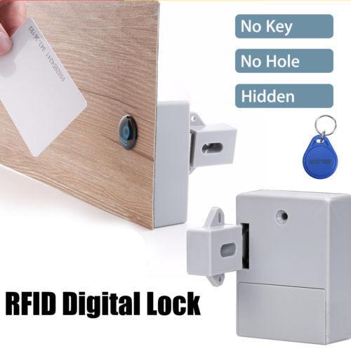 RFID Cabinet / drawer Lock,1 RFID card and 2 Key fobs per lock, unprogrammed