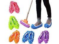 Random Color 5 Pairs Floor Mop Slippers, Reusable Microfiber Dust Mop Shoes