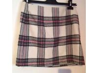 New Look white and pink tartan skirt - size 10