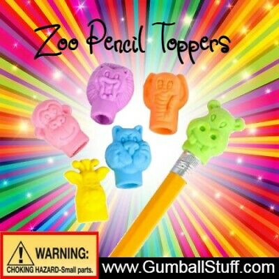 250 Zoo Pencil Top Erasers 1 Inch Vending Gumball Machine Capsules Toy 1.1