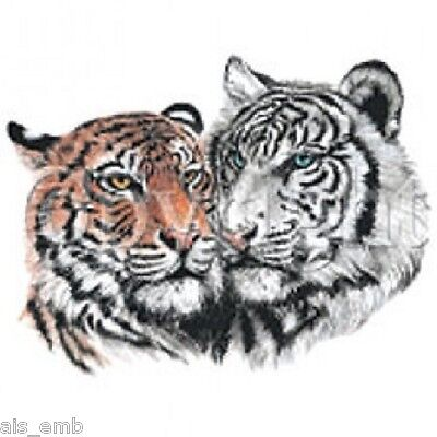 Two Tiger Heat Press Transfer For T Shirt Tote Bag Sweatshirt Fabric Block 293d