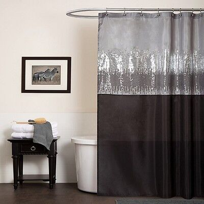 Silver Black shower curtain Gray shimmer bathroom home decor fabric bath glitter ()