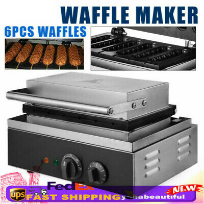 6 Hot Dog Barbecue Machine Commercial Roller Sausage Grill Waffle Maker Us Stock