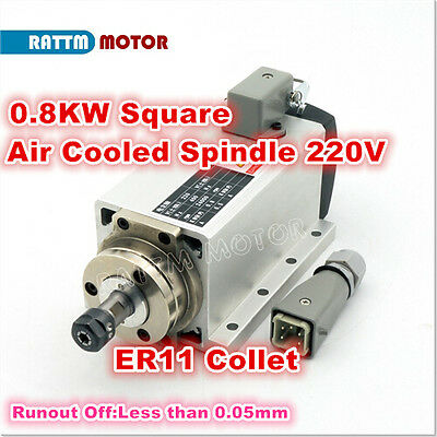 0.8kw Square Er11 Air Cooled Cnc Spindle Motor 220v 24000rpm Engraving Milling