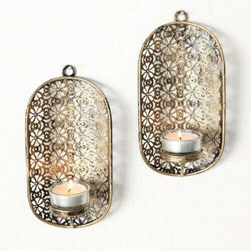 Metall Wand Teelichthalter Farbe kupfer 2er Set - H19cm Wandkerzenhalter