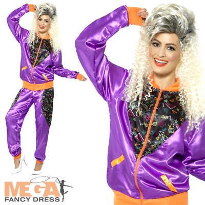 Retro Shell Suit Ladies Fancy Dress Tracksuit 1980s Scouser Womens 80s Costume
