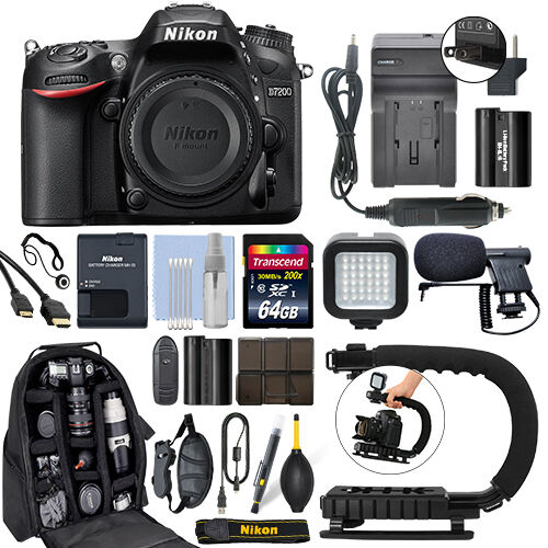 Nikon D7200 24.2 MP Digital SLR Camera Body + 64GB Pro Video Kit